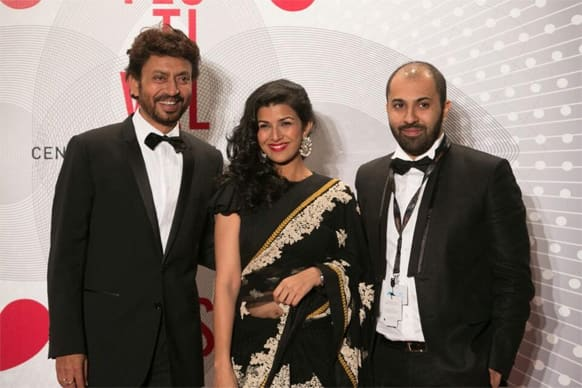 Irrfan Khan, Nimrat Kaur and Ritesh Batra pose for a photograph at the ongoing Cannes Film Festival.