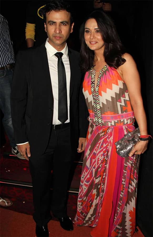 Rhehan Malliek and Preity Zinta pose for a photograph at the premiere of their film 'Ishkq in Paris'. The film hit the theatres May 24.