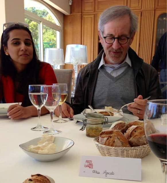 Steven Spielberg and Vidya Balan having good time eating together.