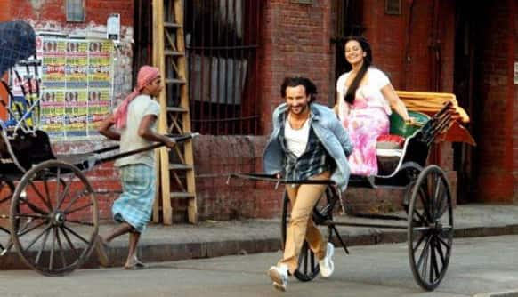 Saif Ali Khan and Sonakshi Sinha seem to be enjoying themselves in this still from 'Bullet Raja'.