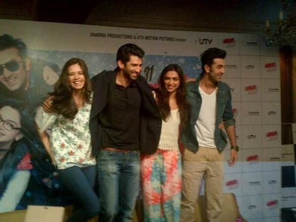 Ranbir Kapoor, Kalki Koechlin, Aditya Roy Kapoor and Deepika Padukone stand on chairs while promoting 'Yeh Jawaani Hai Deewai' in Delhi.