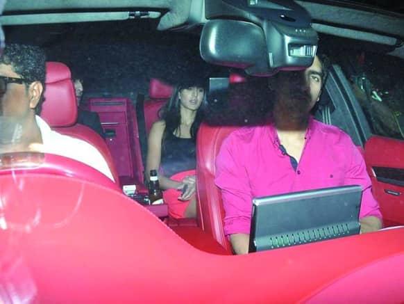 Ranbir Kapoor and Katrina Kaif arrive at Karan Johar's birthday bash in the same car. Are these two really not a couple? Image Courtesy: Filmfare
