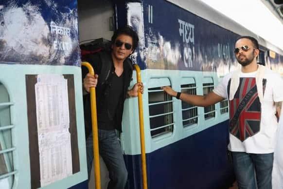 Shah Rukh Khan and Rohit Shetty on the sets of 'Chennai Express'.