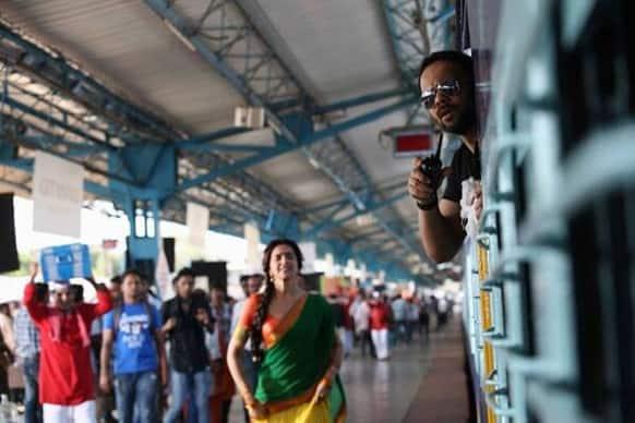 Deepika Padukone and Rohit Shetty on the sets of 'Chennai Express'.