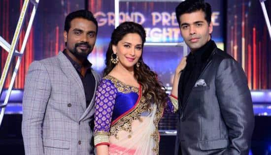 Madhuri Dixit, Remo D'Souza, Karan Johar on the sets of 'Jhalak Dikhhla Jaa'. Image courtesy: Pinkvilla