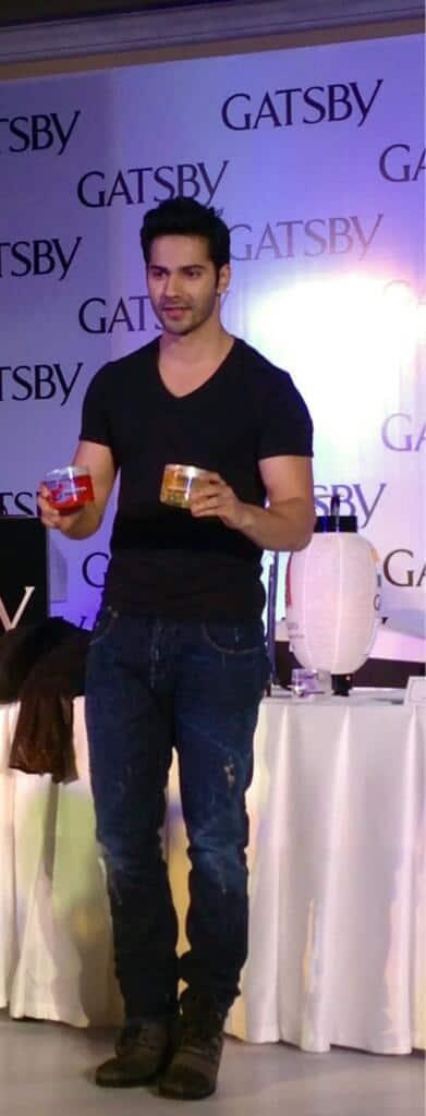 Varun Dhawan promotes Gatsby Hair Gel. Image courtesy: @Varun_dvn