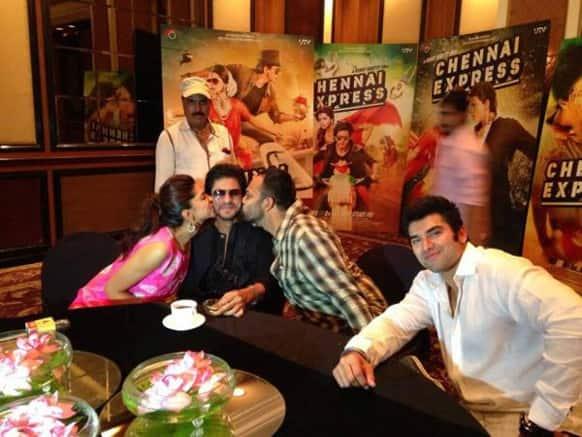 Deepika Padukone, Shah Rukh Khan and Rohit Shetty promote their upcoming movie 'Chennai Express'.