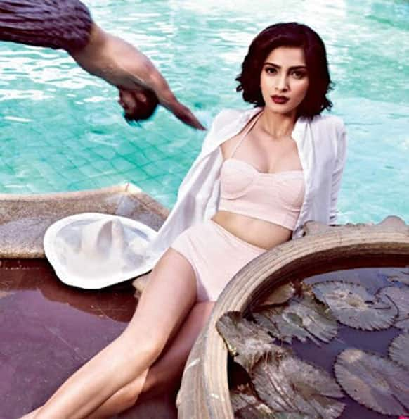 Sonam is seen here posing for a picture by the poolside. (Pic courtesy: Filmfare)