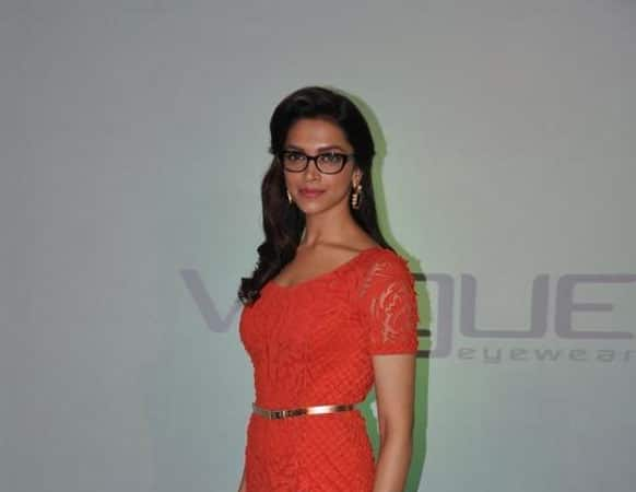 Deepika Padukone clicked by the photographers during the launch event of Vogue eyewear in Mumbai.