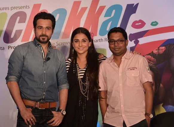 Emraan Hashmi, Vidya Balan and director Raj Kumar Gupta promote 'Ghanchakkar'.