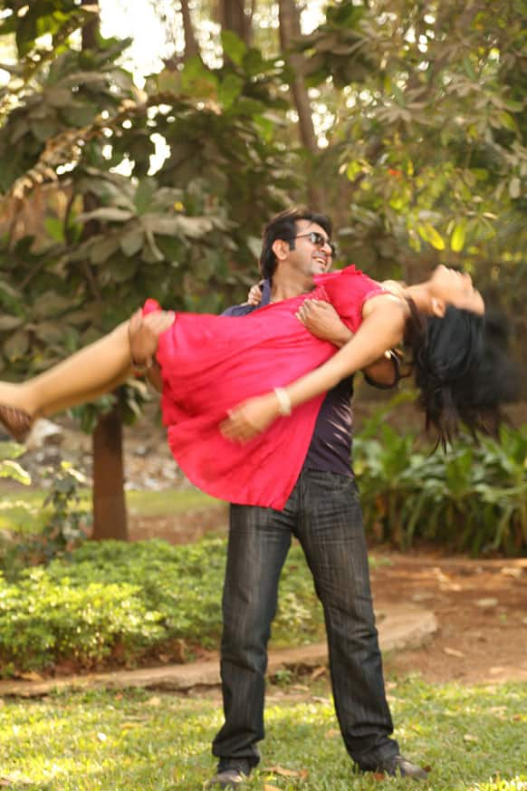 Meera and her co-actor Aryeman are clicked by the camera during a romantic sequence.