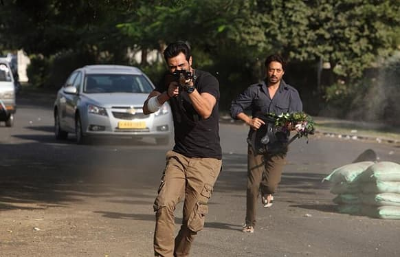 Arjun Rampal and Irrfan Khan in a still from 'D-Day'.
