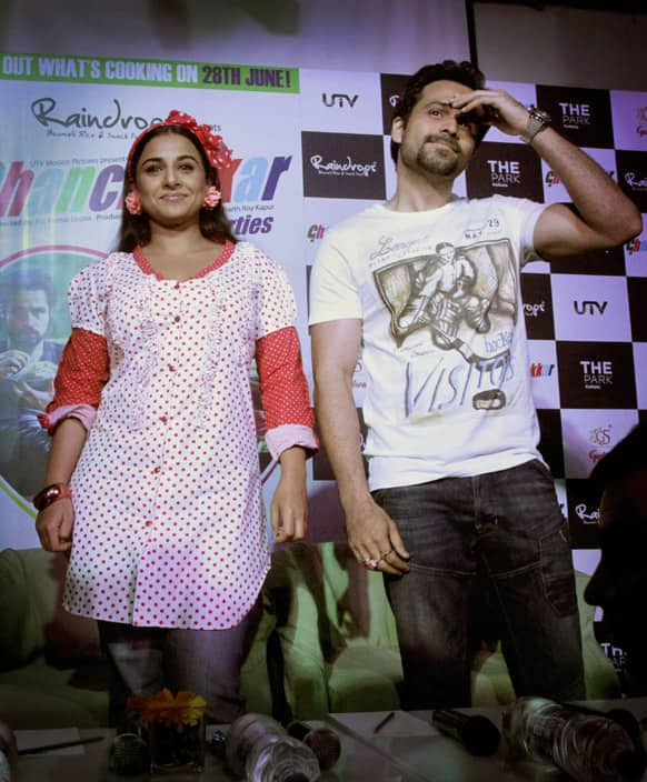 Bollywood actors Vidya Balan and Emraan Hashmi arrive to attend a promotional press conference of their new Hindi movie