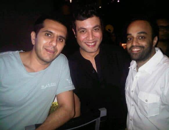 Ritesh Sidhwani along with director Mrigdeep and actor Varun Sharma at 'Fukrey' dinner party.