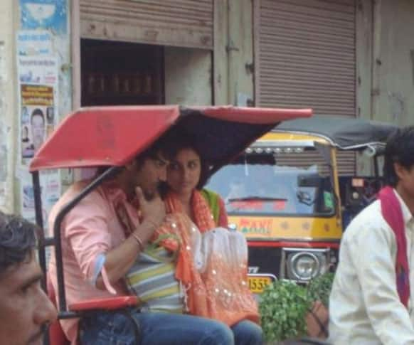 A picture of Parineeti Chopra and Sushant Singh Rajput while the duo was busy shooting for 'Shuddh Desi Romance'.