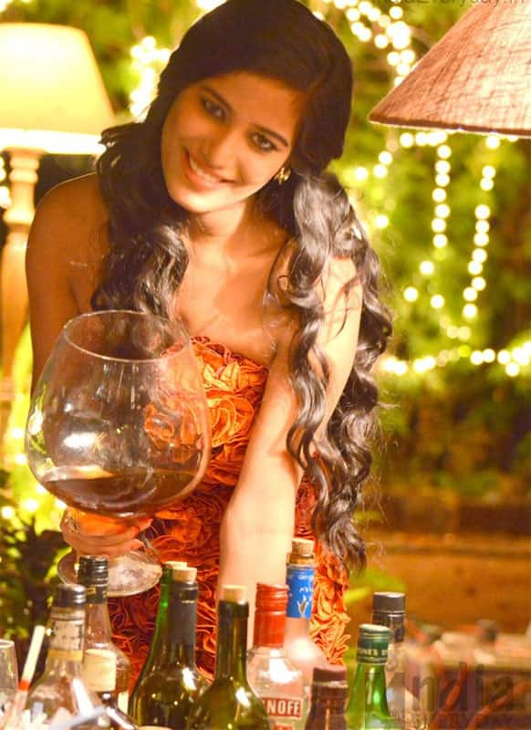 'Nasha' babe Poonam Pandey on the sets of her film.