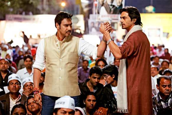 Ajay Devgn and Arjun Rampal in a still from Prakash Jha's 'Satyaghaha'.