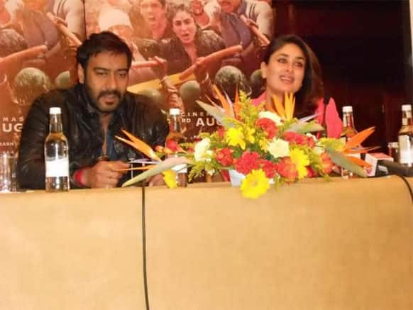 Kareena Kapoor and Ajay Devgn joined UTV Motion Pictures and Prakash Jha from London via videoconferencing during the trailer launch of 'Satyagraha' at an event in Mumbai.
