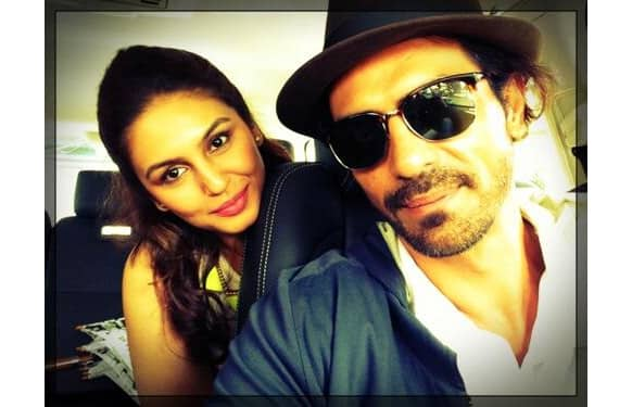 Arjun Rampal and Huma Qureshi pose for a click; the two will be seen in the movie 'D-Day'.    Image Courtesy: @rampalarjun