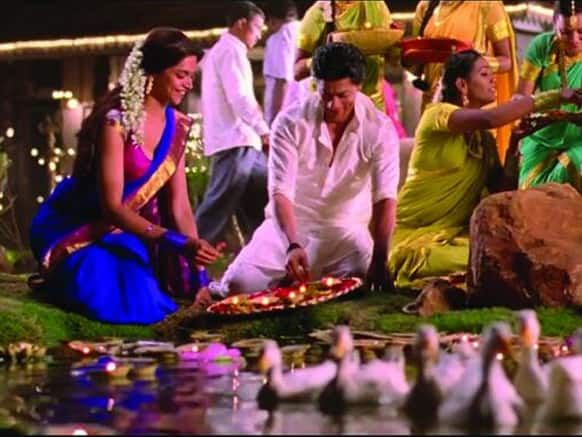Deepika Padukone and Shah Rukh Khan in a still from 'Chennai Express'. Image Courtesy: Filmfare