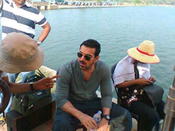 John Abraham snapped on the sets of his upcoming film 'Madras Cafe'.