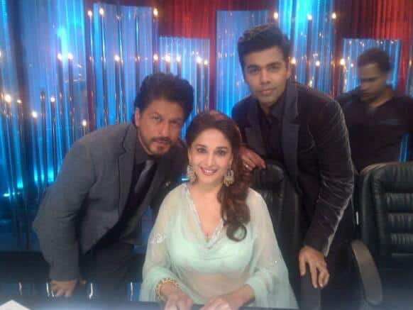 Karan Johar tweeted this picture with Shah Rukh Khan and Madhuri Dixit on the sets of a dance reality show.