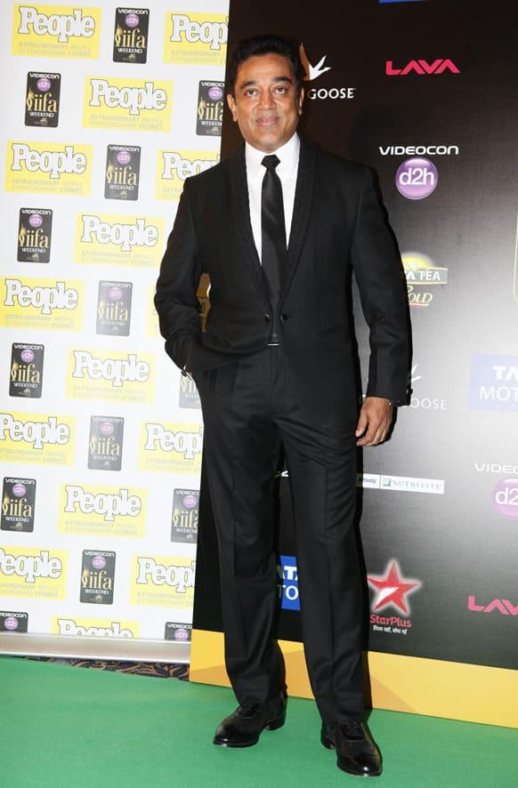 Kamal Haasan arrives for the International Indian Film Academy (IIFA) awards in Macau.
