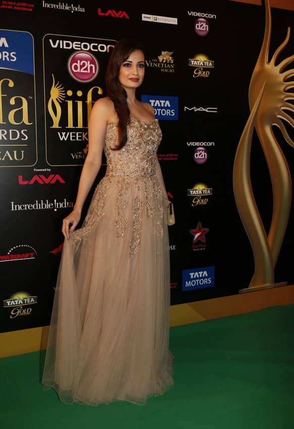 Dia Mirza arrives for the International Indian Film Academy (IIFA) awards in Macau.