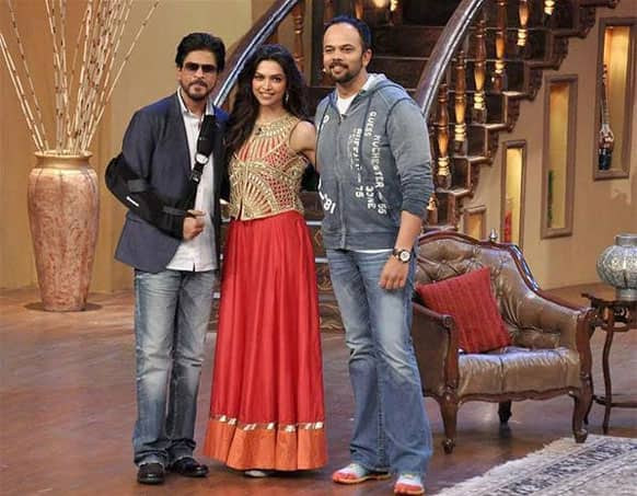 Shah Rukh, Deepika and Rohit Shetty promote 'Chennai Express' on TV.