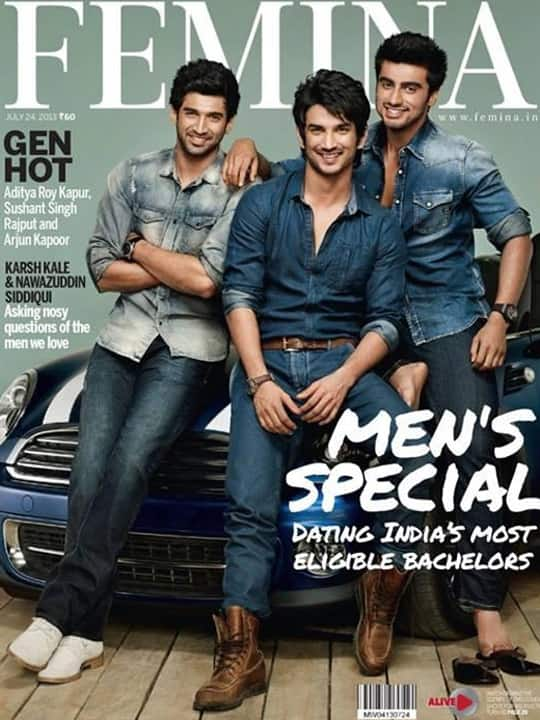 Siddharth Roy Kapoor, Sushant Singh Rajput and Arjun Kapoor on the cover of FEMINA magazine, July edition. Pic courtesy: Pinkvilla