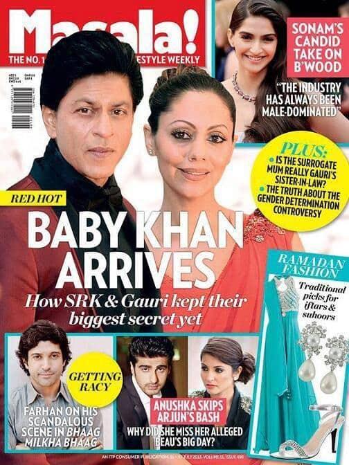 Shah Rukh Khan and Gauri on the cover of Masala magazie. Pic courtesy: Pinkvilla