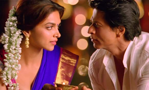 Deepika Padukone and Shah Rukh Khan in a still from 'Chennai Express'.