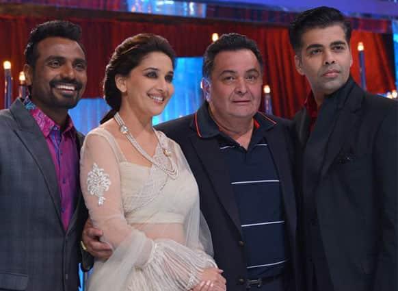 Remo, Madhuri Dixit, Rishi Kapoor and Karan Johar on the sets of a dance reality show. (Pic courtesy: Filmfare)