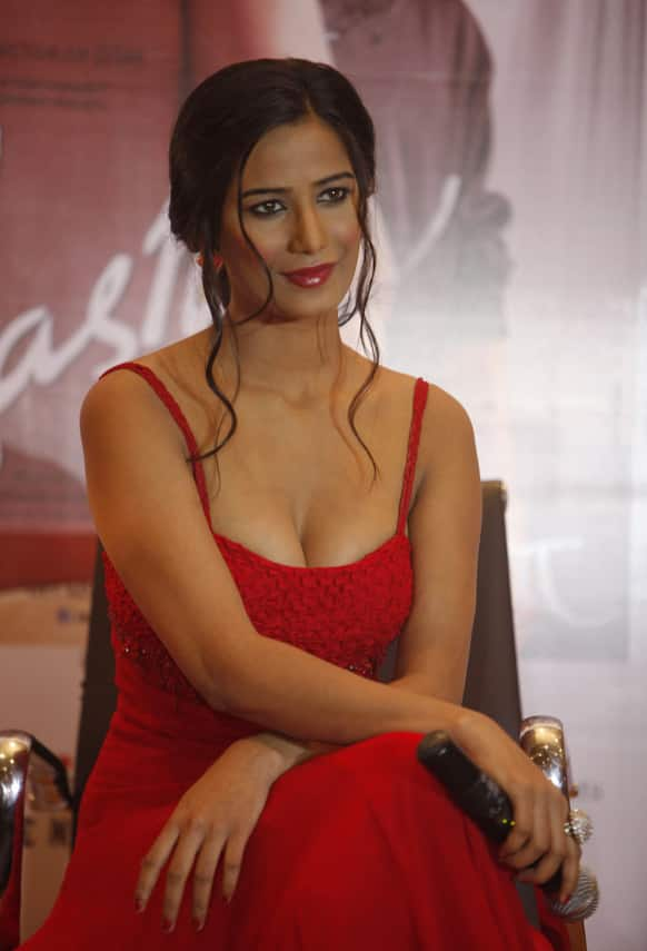 Poonam Pandey attends a promotional event for her upcoming Bollywood movie