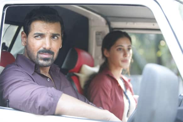 John Abraham and Nargis Fakhri in a still from 'Madras Cafe'.