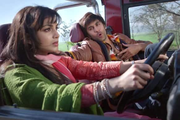Ranbir Kapoor and Pallavi Sharda in a still from 'Besharam'.