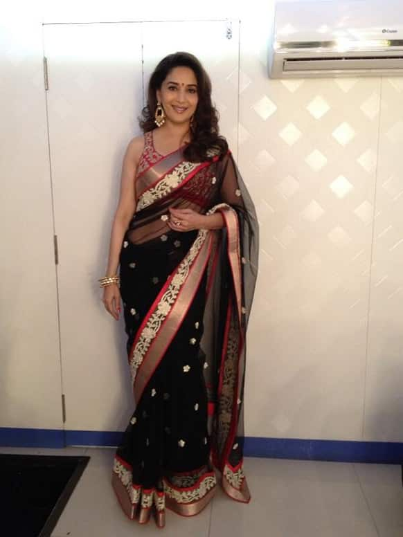 Madhuri poses for a Twitter picture before shooting for a dance reality show.
