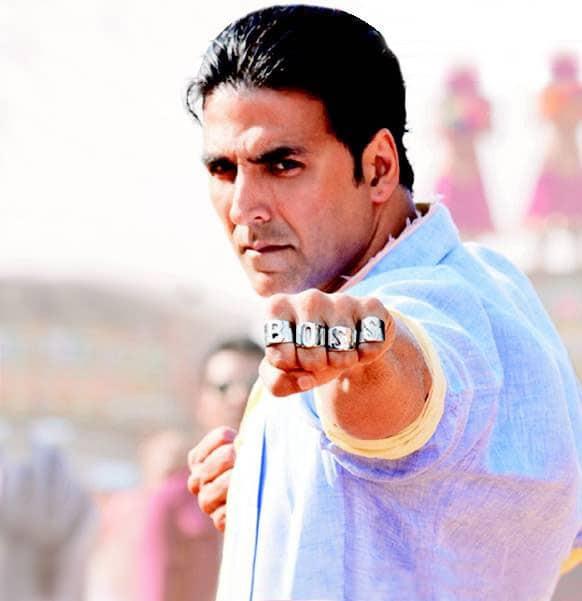 Akshay Kumar in a still from his upcoming 'Boss'.