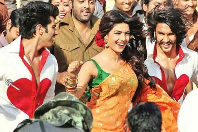 Arjun Kapoor, Priyanka Chopra and Ranveer Singh in a still from 'Gunday'.