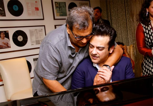 Adnan Sami with Subhash Ghai at a bash.