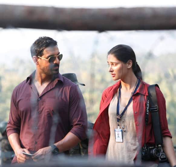 Nargis Fakhri and John Abraham in a still from 'Madras Cafe'.