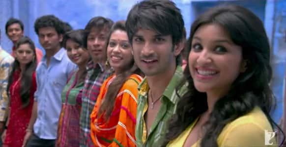 Sushant Singh Rajput and Parineeti Chopra in a still from the title song 'Shuddh Desi Romance'.