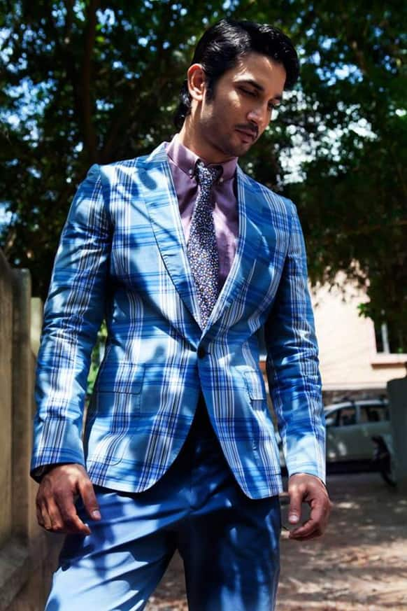Sushant Singh Rajput looks dapper in blue suit that he wore for Grazia magazine's cover shoot.