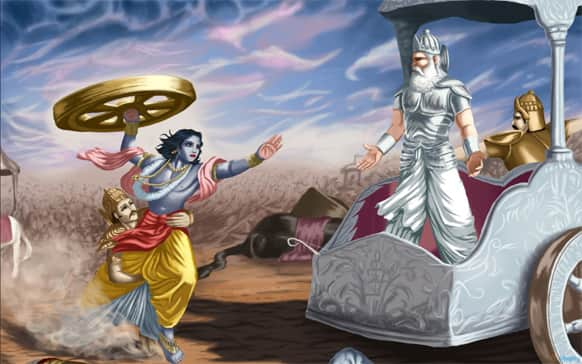 This is a remarkable scene from the great epic Mahabharata.