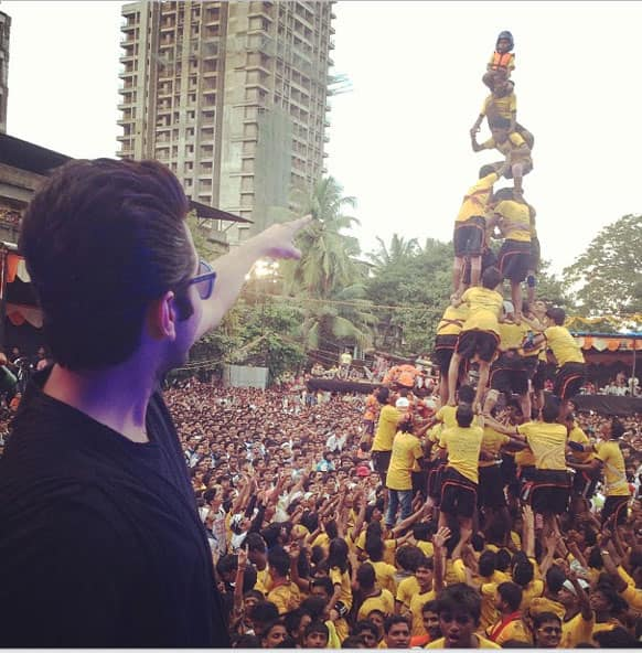 Ayushman Khurana posted this pic of Dahi Handi at Thane on Instagram