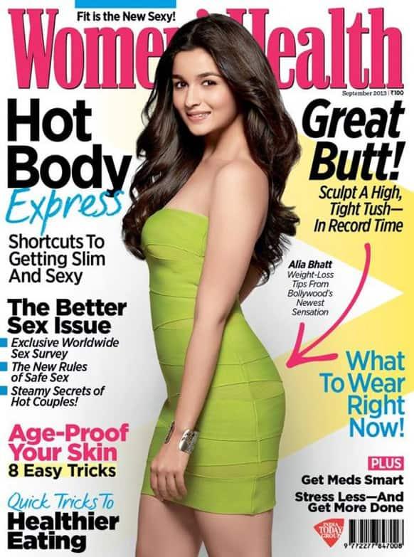 Alia Bhatt on the September 2013 cover page of Women's Health magazine.