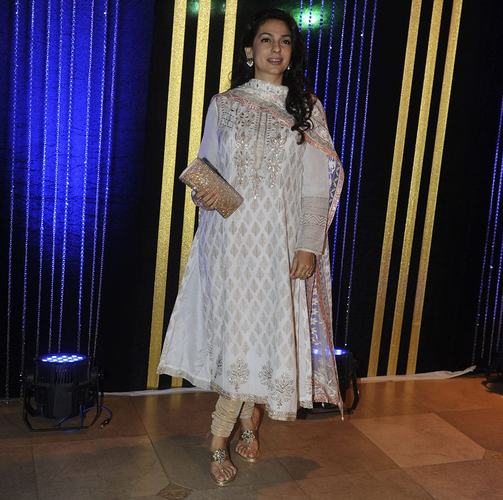 Juhi Chawla at Rakesh Roshan's birthday bash in Mumbai. Pic Courtesy: DNA