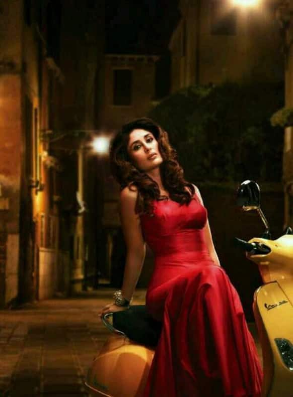 Kareena looks attractive in the deep red gown she is wearing in this picture.