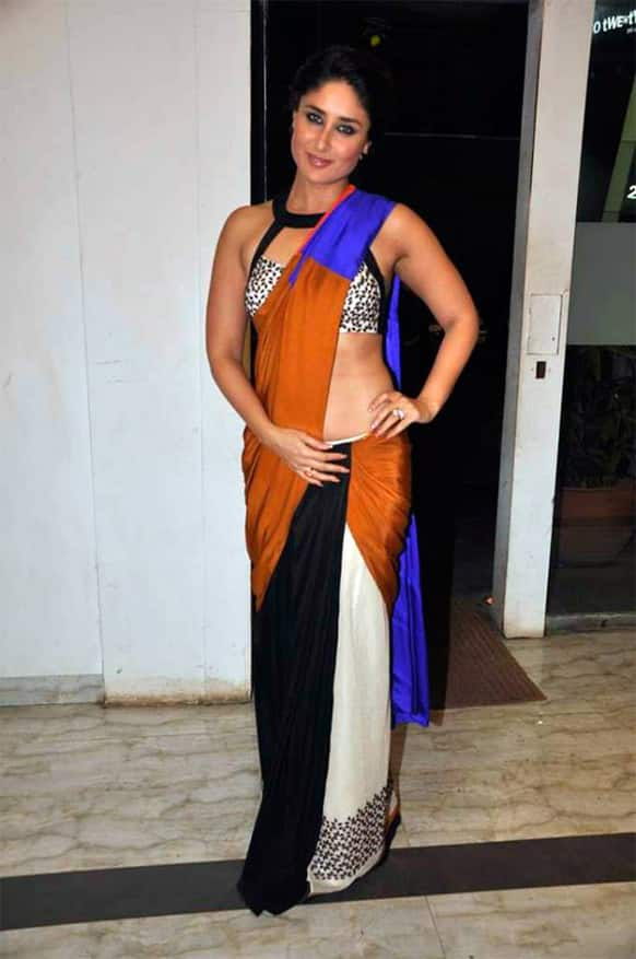Kareena Kapoor wore a colour-blocked saree by Sougat Paul at an event organised by a film magazine.