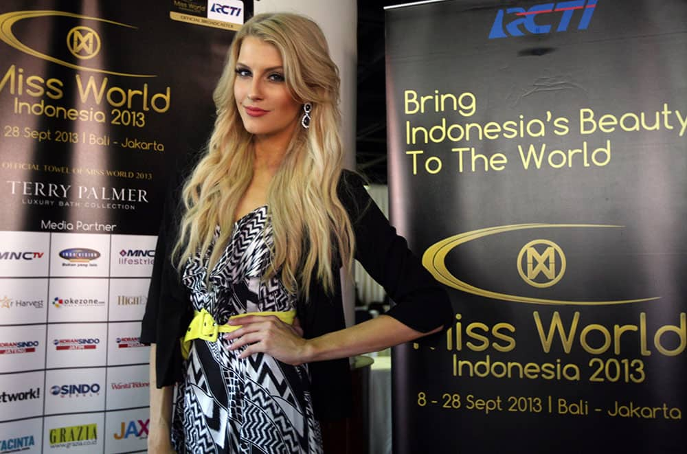 Miss World pageant contestant Miss Australia Erin Holland poses for photos in Nusa Dua, Bali, Indonesia.